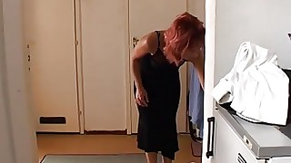 Old & Young - mom helps young boy getting hard