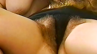 Hairy vagina girls tribbing and strapon fucking