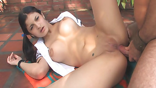 Anal sex with pigtailed schoolgirl Michelle Sanchez