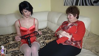 Old woman is licking young shaved pussy