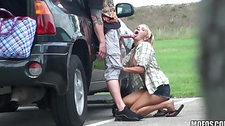 Couple caught banging outdoors