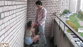 Sex on deck with pigtailed teen