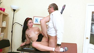 Old man is fucking slutty brunette Angelica