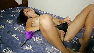 Hot pussy play with a young doll
