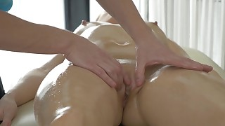 Anal pleasures for Bailey during massage session
