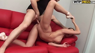 Cute babe with long legs fuck in doggy style