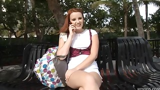 Redhead teenager Katey Grind is showing unbelievable blowjob to her bf