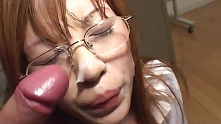 Asian gets some sperm over her glasses
