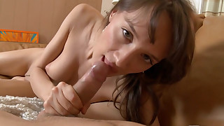 Beautiful brunette with cute face Agnese banging in her puss