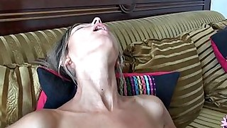 Teen slut gets her face completely covered in cum